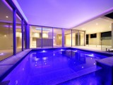 Swimming pool designs with light acoustics