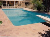 Clean and clear swimming pool after cleaning and repair